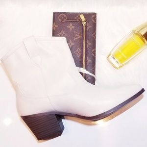 New White 11 Western Ankle Boots Shoes Ladies